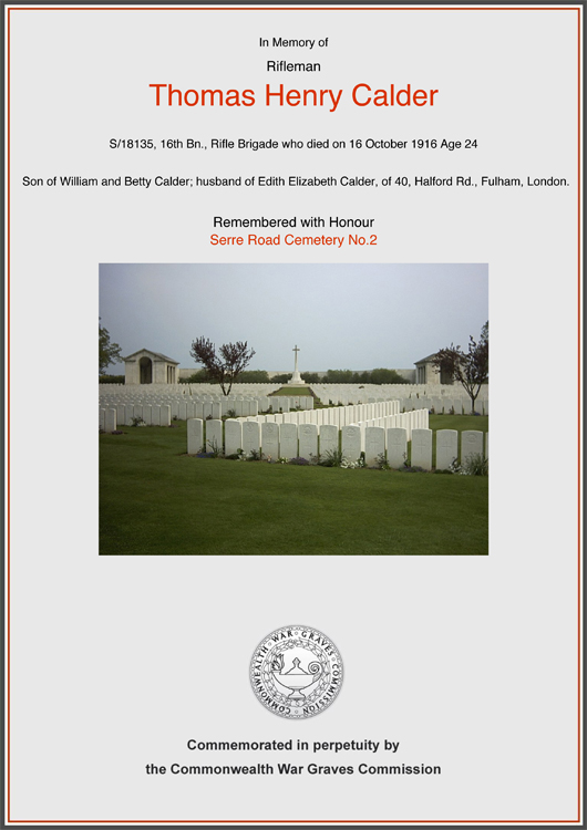 Commonwealth War Grave Certificate